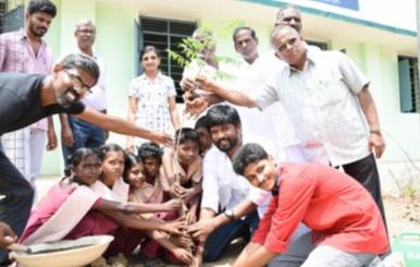 Actor Soundararaja Tree Planting with Shool Students Stills