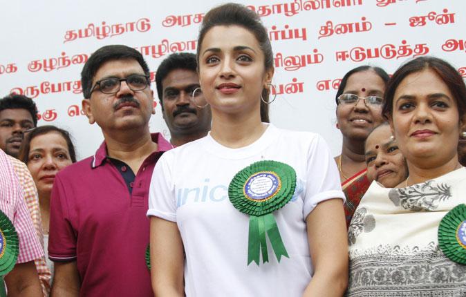 Trisha in World Day Against Child Labor Rally Stills