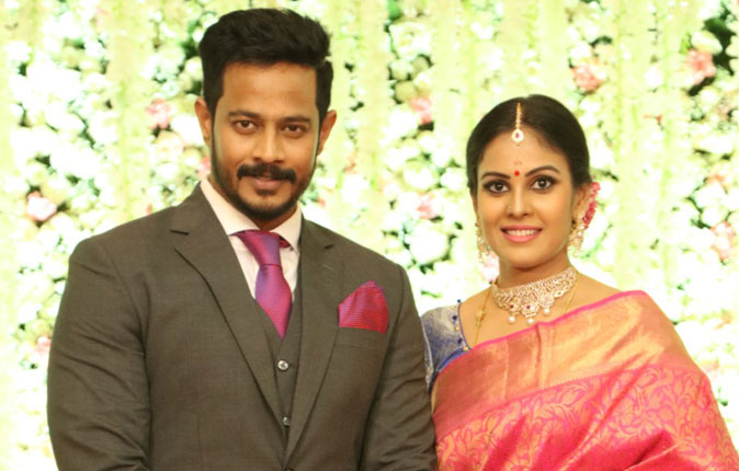Actress Chandini weds Nandha Wedding Reception Stills